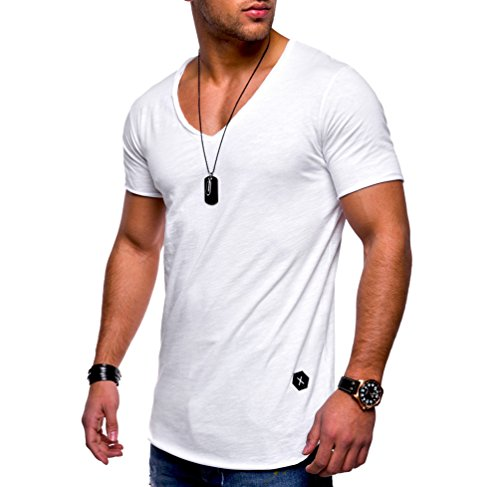 Ketamyy-Hombre-Color-Puro-Algodn-V-Cuello-Seccin-Delgada-Manga-Corta-Camiseta