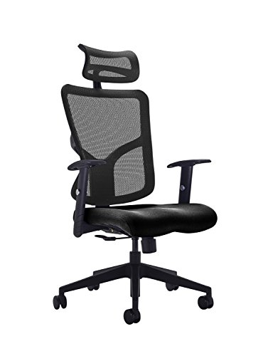 41opS2D1mpL - Office Hippo High Back Mesh Office Chair with Adjustable Arms and Mesh Headrest, Fabric, Black