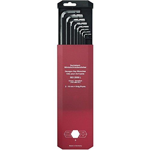 hafu Jeu de clé Allen hexagonale longue ISO2936, Taille 2-10 mm, 8 Pièces, 1 pièce, 217-180-02