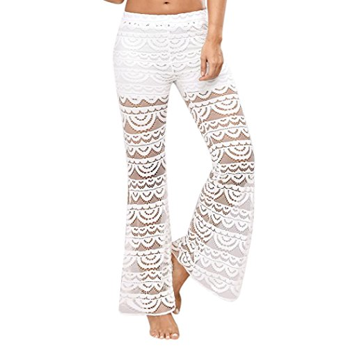 Damen Lace Bell Bottoms Flare Hose Mid Tailliertes Wide Leg Long Yoga Hose (White, XL) -