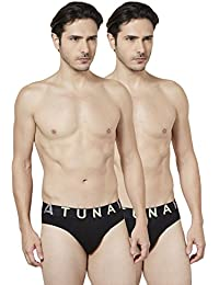 Tuna London Black Color Cotton Fabric Brief For Mens - (Pack Of 2)