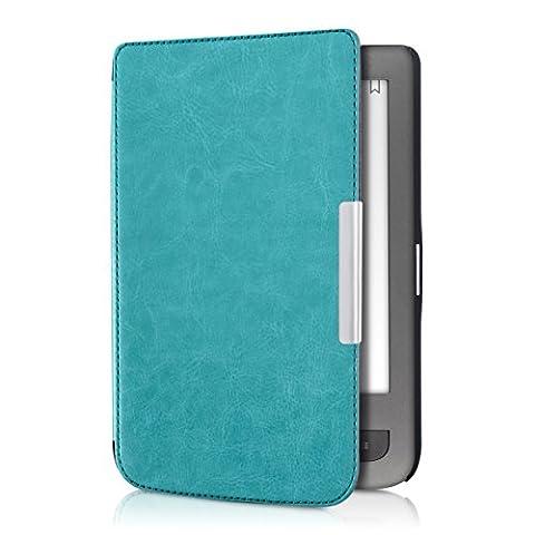 kwmobile Étui à rabat pour Pocketbook Touch Lux 3 / Touch Lux 2 / Basic Lux / Basic 3 / Basic Touch 2 - Pochette rabattable en simili-cuir en bleu clair