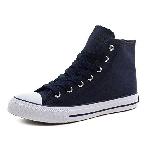 Klassische Unisex Damen Herren Schuhe Low High Top Sneaker Turnschuhe Blau/Weiß High