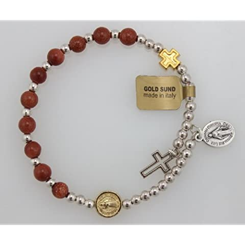Genuine Gold Sund Bead Wrap Rosary Bracelet with Silver Oxidized Miraculous Medal and Cross (BR565C) by McVan, Inc.
