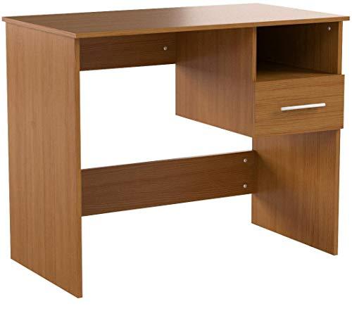 MIADOMODO Schreibtisch - mit Schublade und Ablage, 90/74/50 cm, aus MDF, Weiß und Buche - Bürotisch, PC-Tisch, Computertisch