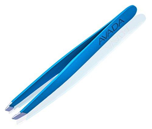 Pinzette Edelstahl - Professionell Augenbrauen zupfen - Schräge Spitze - blau - Aufbewahrungsetui