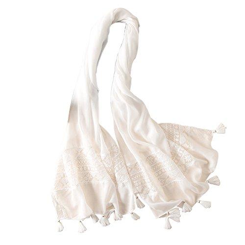 Bbl345dLlo Damen Strandtuch Schal, Spitze Patchwork Mode Quaste Schal Schals Weiche Frauen Neck Wrap Schal Bandana White - Patchwork-quaste