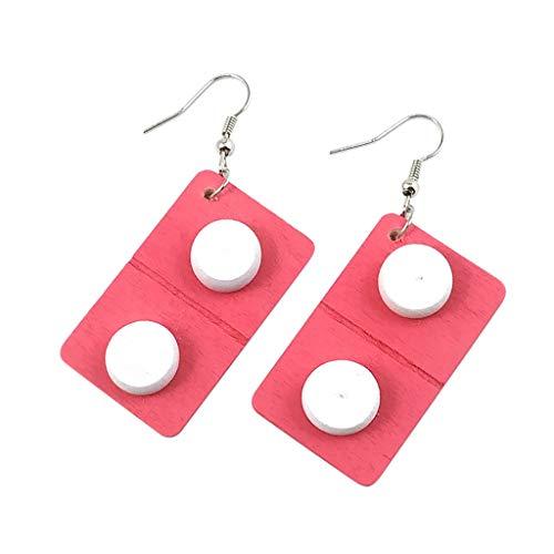 VithconlFrauen Haken Ohrringe Kreative Pillen Kapsel Holz Tropfen Anhänger Schmuck Geschenk (Hot Pink)