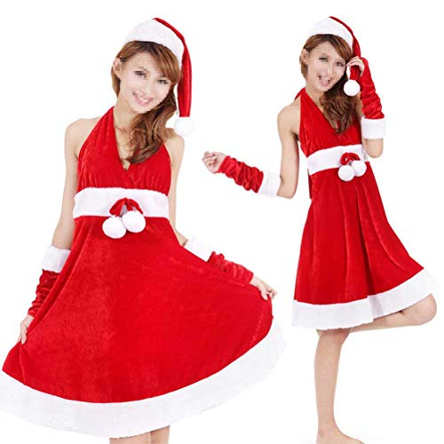 Kostüm Santa Baby Miss - Amosfun 1pc Weihnachtskostüm Adorable Sexy Weihnachten Cosplay Kleid Miss Santa Kostüm Weihnachtsskirt für Urlaub