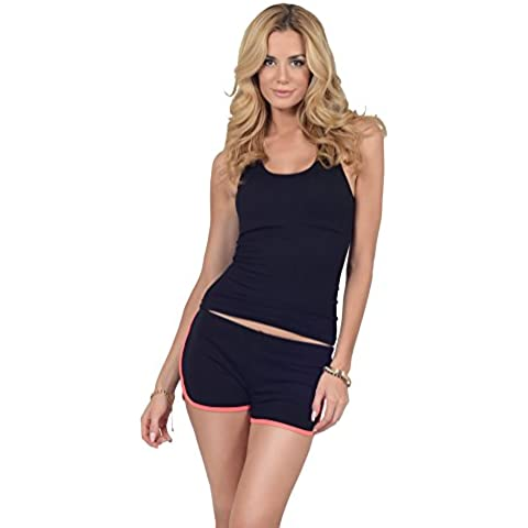 Pantaloncini donna corti cotone fit rilassato sportivi elastici palestra ginnastica