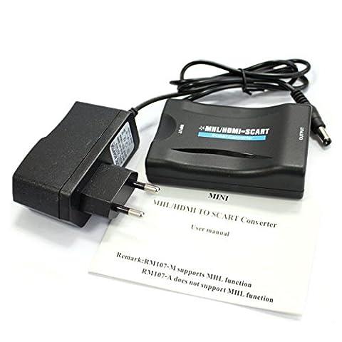 HDMI Entrée vers Péritel Sortie Converter Adaptateur AV Converter W / PAL / NTSC Commutateur Pour Téléphone TV avec Support Power Adapter Hdmi 1080p AC281