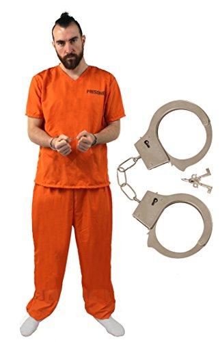 XL orange Sträfling Gefangener inkl. handschelllen Maskenkostüm Overall bis zu 50 Zoll Brust