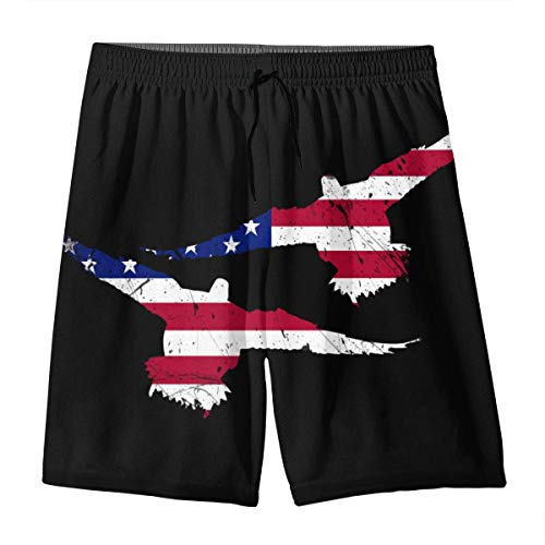 HPHPLSZ American Flag Duck Drake Hunting Decoy Tea Summer Swim Trunks 3D Print Beach Board Shorts Elastic Waist for Teen Boys&Girls L -