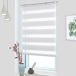 OUBO Doppelrollo Klemmfix ohne Bohren 80x 150 cm (BxH) Weiß Fenster Duo Rollo - lichtdurchlässig und verdunkelnd Wandmontage Deckenmotage Sichtschutz Rollo mit Klemmträgern