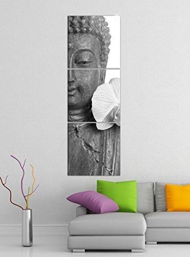 Leinwandbild 3tlg Buddha statur lilien blüte Asien schwarz weiß Bilder Druck auf Leinwand Vertikal Bild Kunstdruck mehrteilig Holz 9YA4942, Vertikal Größe:Gesamt 30x90cm