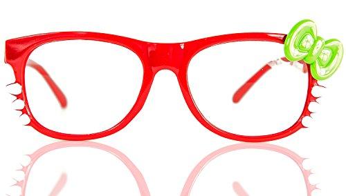 NERD-Brille Kitty ohne Seh-Stärke Damen Fenster-Glas Fasching Karneval Rot Grün Panto-brille Wayferer Horn-Brille Party-Brille