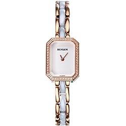 binlun Damen Mini weiß Zifferblatt Rose Gold Tone Diamond Swiss Quartz 2Tone Armbanduhr für Arbeit dem Geschenk