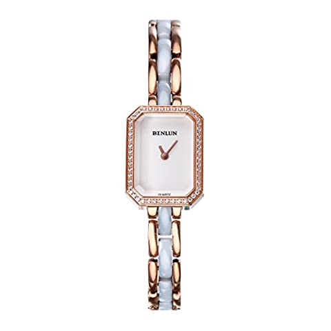 Binlun Womens MINI White Dial Rose Gold Tone Diamond SWISS Quartz 2 Tone Wrist Watch for Work Dating Gift