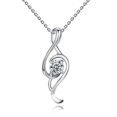 Yoursfs 18ct White Gold Plated Musical Note shape Pendant Necklace for Women