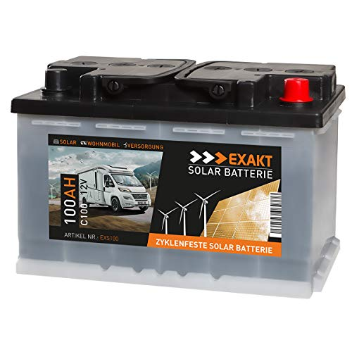 EXAKT Solarbatterie 100Ah 12V Wohnmobil Antrieb Versorgung Boot Mover Photovoltaik Windkraft Batterie (EXS100)