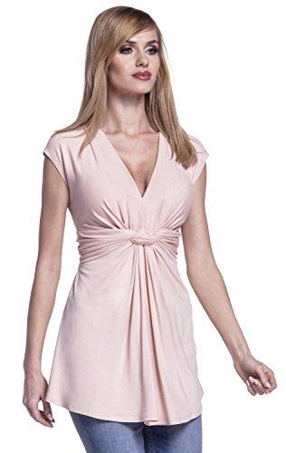 Glamour Empire. Damen Empire-Taille Schnitt Top Knoten Details Flügelärmeln. 966 Beige