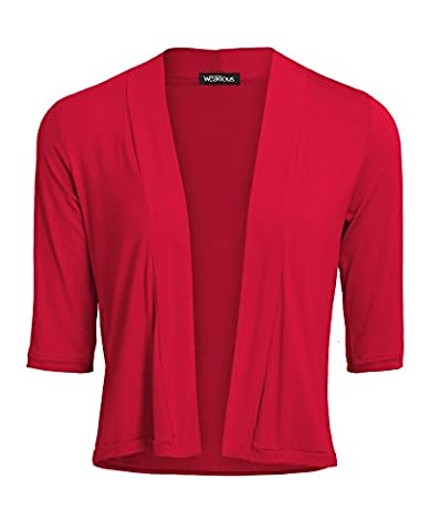 3/4 Sleeve Casual Open Front Short Blazer Cardigan (18, Red)