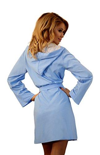 Vestaglia Da Donna Leggera Cotone Corta con Cappuccio e Cintura Blu