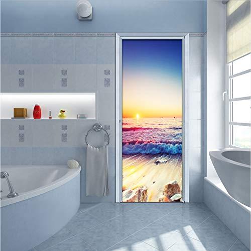 Adsjpy Seaside Landscape Door Sticker PVC Autoadhesivo salón baño Impermeable de Pared Etiqueta de la Puerta decoración para el hogar Pegar Papel Tapiz 3D 77x200cm