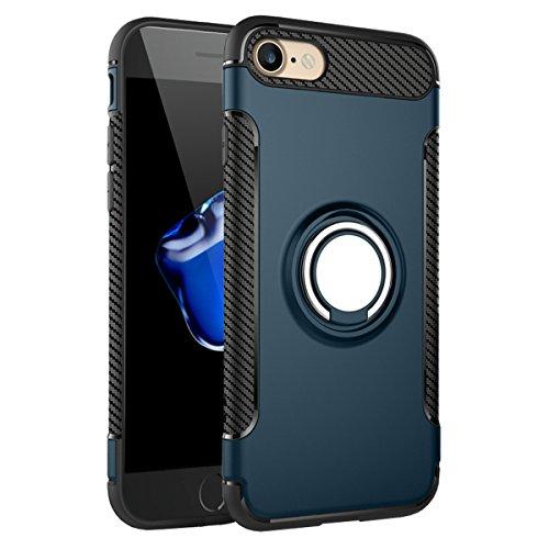 """iPhone 7 Hülle, HICASER Abnehmbare Hybrid Dual Layer Defender Case [Shock Proof] Carbon Faser TPU +PC Handyhülle mit Klappständer für iPhone 7 4.7"""" Rose Gold Dark Blau"""