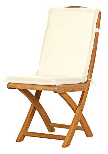 4 x Naturweiße Sitzauflage für Garten-Stühle & Klappstühle, 88 x 40 cm ✓ Premium Pol