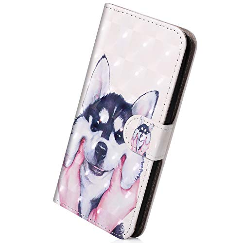 Hülle Kompatibel mit Huawei P20 Leder Hülle Handy Schutzhülle Bunt Bling Glänzend Glitzer Handytasche Lederhülle Leder Tasche Handytasche Wallet Klapphülle Flip Case Cover,süß Hund
