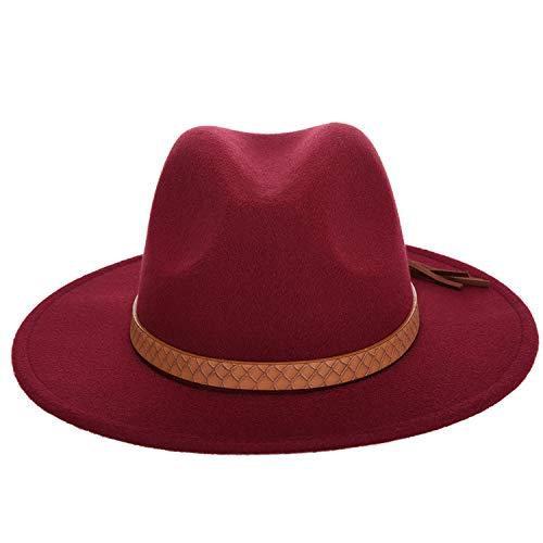 DOGOGO, Cappello da Uomo alla Moda, Tinta Unita, Autunno e Inverno, in Pelle di Lana, Cappello Classico da Sombrero, Colore Vinaccia, 56 - 58 cm