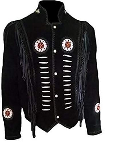 Native American Mens Western Cowboy Real Suede Leather Jackets 37 XL -