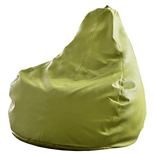 Lumaland luxury gaming beanbag pouf similpelle poltrona con riempimento 230l per interni ed esterni verde