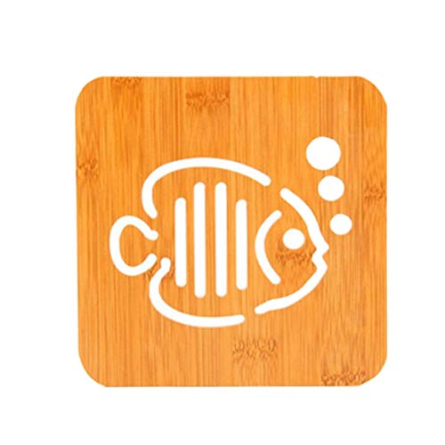 fghfhfgjdfj Tabelle Tischset Coaster Holz Cartoon Isolation Pad hohl Verbrühungsschutz Eco-Friendly Home Küchenzubehör (Tischsets Holz-tabelle)