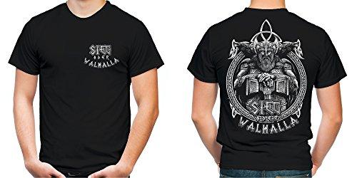Sieg oder Walhalla Männer und Herren T-Shirt | Odin Wikinger Valhalla Geschenk | M1 FB (L, (Kostüme Ideen Thor)
