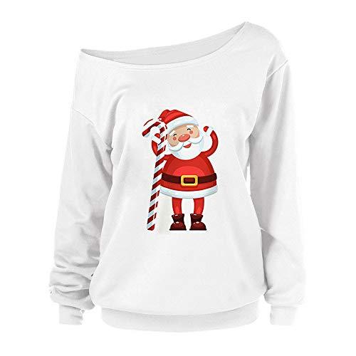 (SEWORLD Weihnachten Vintage Christmas Damen Frohe Weihnachten Frauen Weihnachten Drucken Langarm Sweatshirt Pullover Tops Bluse Shirt(Weiß4,EU-42/CN-XL))