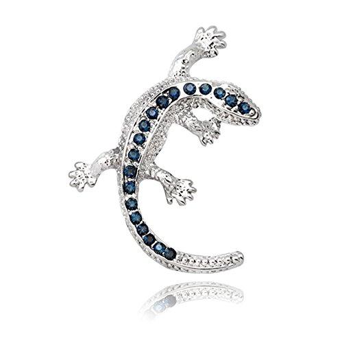 KristLand Fashion Brosche Silber Farbe Zarte Lizard Tiere Brosche Pin mit Kristall Austrain blau für Männer Frauen Outfits/Business Anzug/Halloween/Geschenk-Box