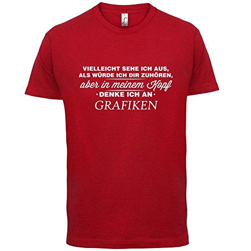 Vielleicht sehe ich aus als würde ich dir zuhören aber in meinem Kopf denke ich an Grafiken - Herren T-Shirt - 13 Farben Rot
