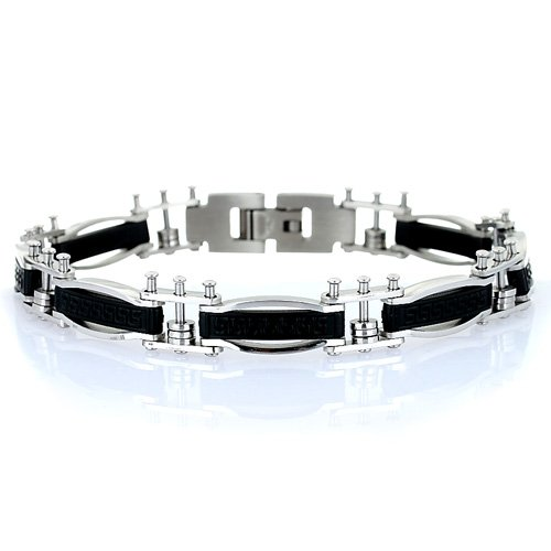 Men's Greek Key Design Designer Stainless Steel Bracelet, Stylish Links with a Centre Black Etched Plate. Trendy Man Christmas or Birthday Gift Idea at a Superb Price