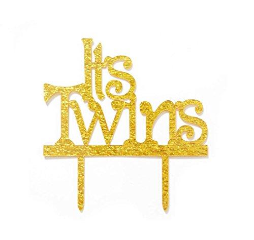 It 's twins Tortenaufsatz, Twins Baby Dusche Dekorationen (Gold) (Twin Baby-dusche-dekorationen)