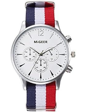 Amcool Herren Uhr Luxus Canvas Uhrenarmband New Arrival Analog Armbanduhr(Weiß)