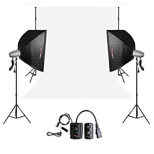 FotoQuantum Studio Flash Kit FQM-250/250 Plus (Bowensanschluss) mit Softboxen 60x90cm + Fernausloser + Vinylhintergrund Weiss + Hintergrundsystem mit Metallkette