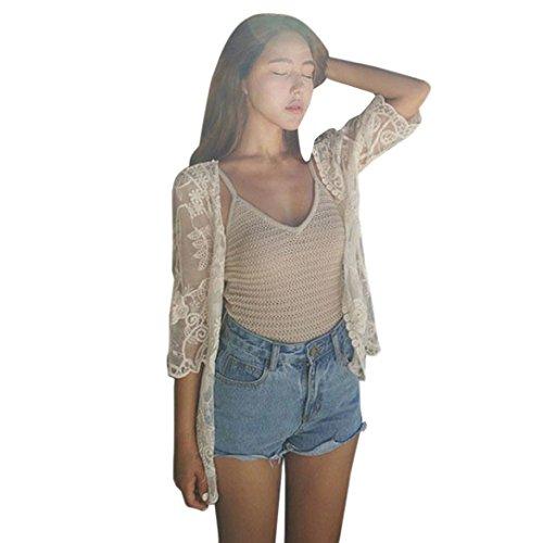 FEITONG Frauen Sommer Spitze Druck Strand Kimono Cardigan Bluse (S, Weiß) (Spitze Kimono Bluse)