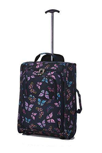 5 Cities Tasche, Koffer als Kabinengepäck, 55 cm, leicht, Handgepäck Mehrfarbig Butterflies (Navy) 55 cm