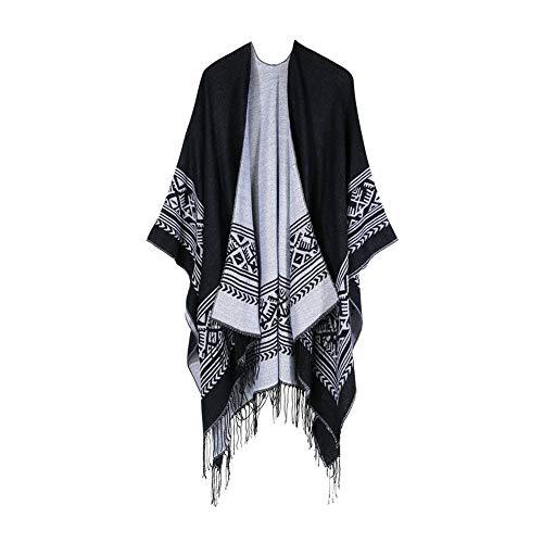 UFODB Schal Damen Winter Bohemia Tassels Vintage Knitted Ponchos Shawl Cardigans Sweater Coat Poncho Strickjacke Kaschmir Capes Pullover Mantel -