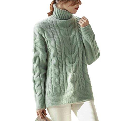La Vogue-Maglioni da Donna Con Collo Alto Casual Maglioni Busto 90cm Verde