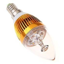 SODIAL(R)3W E14 LED Luz Bombilla Lampara de la vela blanco calido 85V - 265V Concha de Oro