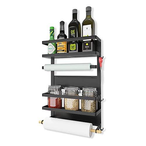 Kühlschrank Regal 4 Tier Magnet Gewürzregal Papierhandtuchhalter-Spender Küchen Organizer Veranstalter Mehrzweckablage mit 5 Haken, Schwarz