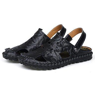 Herren Sandalen Sommer Comfort Light Sohle Leder Outdoor Casual flachem Absatz Khaki Camel schwarz Wasser Schuhe Black